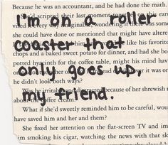 "John Green Quote Fault in Our Stars ""I'm on a roller coaster that only goes up, my friend"""