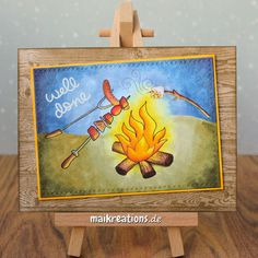 Well done card - Copic coloring of flames and the reflections on all the bbq goodness ;o) Find more details, photos and and a list of supplies on my blog. Happy crafting, Maike ;o)  maikreations