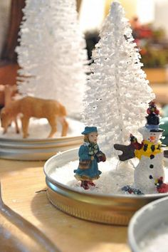 Easy snow globes - no mess, no water
