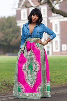 African maxi skirts are our favourite! Does anything look more timelessly beautiful than African print fabric on a long flowing skirt? Shop the Grass-fields range here. African Print Skirt, African Print Dresses, African Dress, African Prints, Africa Fashion, African Print Fashion, African Attire, African Wear, African Style