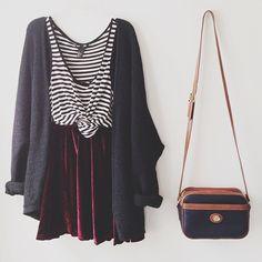 red velvet skirt, striped vest, long cardi and sling bag