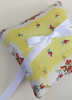 great idea...wedding ring pillow out of a beautiful little hanky