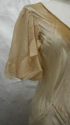 Chiffon sleeve from a 1930s bias cut velvet dress. Collection: Royal Pump Room/Harrogate Museum.