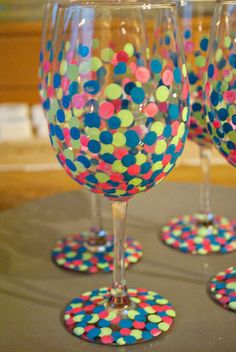 Oh, Sweet Honey Iced Tea!: Painted Wine Glasses
