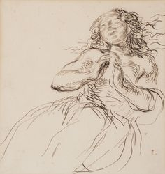 Eugène Delacroix (1798–1863), Study of a Young Girl, Pen and iron-gall ink