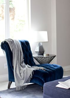 velvet blue tufted chair