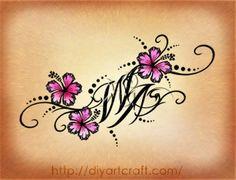 3 disegni per caviglia: rondini mimetizzate tra maiuscole e hibiscus caviglia-monogramma-WA-diyartcraft – tattoo diyartcraft