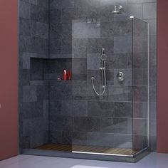 DreamLine Linea Frameless Shower Door with Two 34 x 72-inch Attached Glass Panels: