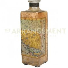 Old World Glass Vase Pottery  The trio of three makes any collection complete.  Old maps give these aged glass vases a well traveled feel and offer a subtle sense of adventure. Accessorize your bookshelf, tabletop or nightstand in old world elegance.