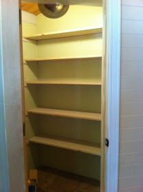 For the inside, my idea of shelving was completely different from what Rick was thinking. He began building the shelves in the form of a . L Shaped Pantry, Cedar Homes, Pantry Laundry Room, Pantry Makeover, Bathroom Closet, Kitchen Supplies, Pantry Organization, Shelving, Kitchen Decor
