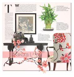 """Sakura Living"" by ayelmaoki ❤ liked on Polyvore featuring interior, interiors, interior design, home, home decor, interior decorating, Amanti Art and The Elephant Family"
