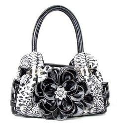Black Leopard Flower Handbag $35.00