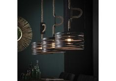 Industrial Ceiling Light Watson 3 Pendants - Available at Furnwise! Industrial Floor Lamps, Industrial Ceiling Lights, Industrial Table, Metal Lattice, Led Lampe, Light Fittings, Cool Lighting, Lighting Ideas, Interior Lighting