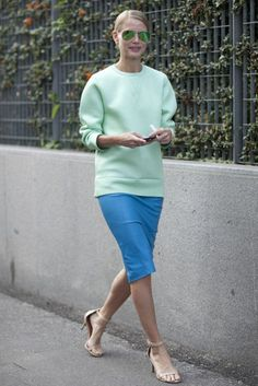 Shop this look for $76:  http://lookastic.com/women/looks/mint-crew-neck-sweater-and-aquamarine-pencil-skirt-and-beige-sandals/1334  — Mint Crew-neck Sweater  — Aquamarine Pencil Skirt  — Beige Sandals