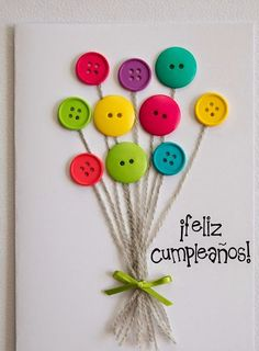 carte anniversaire (tutoriel gratuit - DIY) - tutolibre a simple DIY for a small personal card to de Cute Cards, Diy Cards, Diy Birthday, Birthday Cards, Happy Birthday, Craft Projects, Crafts For Kids, Button Cards, Homemade Cards