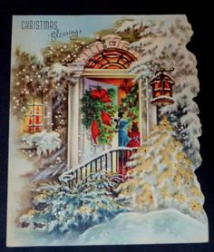 Vintage Christmas Card Glittered Mother Daughter Decorate Tree Family   eBay