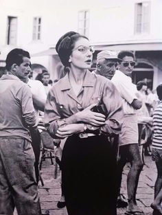 Maria Callas wearing glasses, being stylish as always 1959.