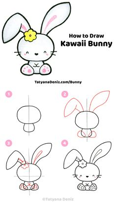 How to draw a cute Easter bunny step-by-step tutorial Easy step-by-step drawing tutorial for how to draw a cute kawaii Easter bunny. Drawing tutorial with FREE printable PDF, drawing tips, and materials. Easy Drawings For Kids, Drawing For Kids, Drawing Ideas, Drawing Tips, Pencil Sketch Drawing, Drawing Poses, Pencil Drawings, Drawing Art, Drawing Tutorials For Kids