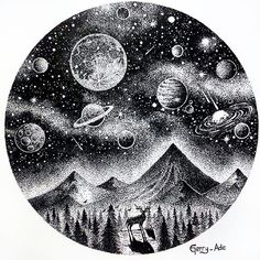 Drawing Doodles Sketches Great illustration by Art And Illustration, Ink Illustrations, Space Drawings, Art Drawings, Doodle Art, Planet Drawing, Stylo Art, Dotted Drawings, Tattoo Ideas