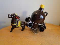 Vintage Ries Japan Pottery Donkey Pulling Cart w/ Jug & Cups Shot Glass Mugs