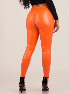 Back Side Ruched Faux Leather Leggings NEONORANGE Faux Leather Leggings, Leather Pants, Hopeless Romantic, Vegan Leather, Women, Fashion, Leather Jogger Pants, Moda, Women's