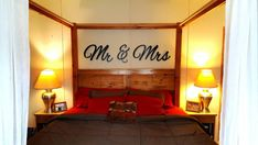 Mr & Mrs wall hanging above bed decor master bedroom decor