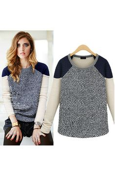 Color block raglan quilted neoprene shoulder grey marble knit sweater.