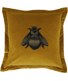 Timorous Beasties Gold Napoleon Bee Velvet Cushion | Cushions by Timorous Beasties | Liberty.co.uk