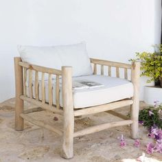 Teak and cotton armchair in ivory