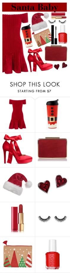 """""""Santa Baby"""" by angelinapurplerose ❤ liked on Polyvore featuring Michelle Mason, Chanel, Velour Lashes, Essie and Gucci"""