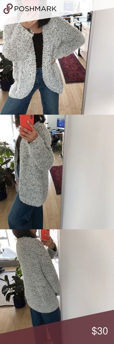 Kensie Fuzzy Open Cardigan Super comfy and cozy Kenzie chunky sweater. Everyone needs one of these fuzzy sweaters they're the best. Light gray and black. Size L, great condition. No trades please Zara Sweaters Cardigans