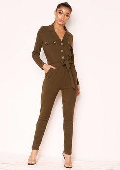 90d258a5fc9 Missyempire - Jeanie Khaki Ribbed Button Utility Jumpsuit Jumpsuit