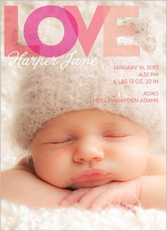 Cover Girl Birth Announcement - If she has chubby cheeks it will be this one. Picture the same way and all :)