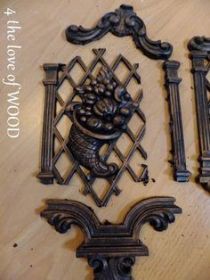 FURNITURE APPLIQUES - Appliques from plastic decorative pieces. - 4 the love of wood: Beach Furniture, Colorful Furniture, Diy Furniture, Refurbished Furniture, Painted Furniture, Diy Arts And Crafts, Wood Crafts, Trumeau Mirror, Wood Appliques