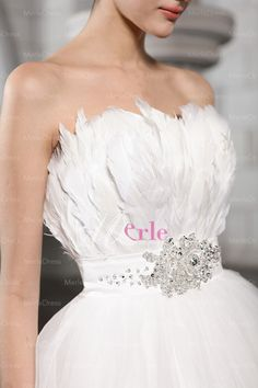 wedding dress with feather bodice | ... Strapless Sleeveless Beading Feather Chapel Train Net Wedding Dress