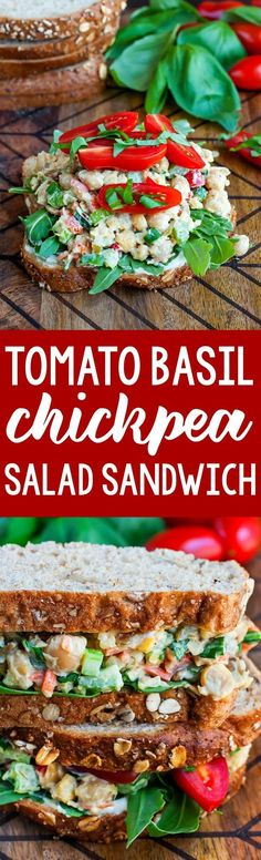 Tomato Basil Chickpea Salad Sandwich FTW! Whip up this healthy vegetarian chickpea salad in advance for speedy make-ahead lunches or picnic eats.