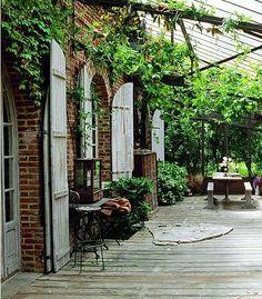 40 Lovely Veranda Design Ideas For Inspiration - Bored Art Porches, Outdoor Rooms, Outdoor Gardens, Outdoor Living, Veranda Design, Outdoor Shutters, Exterior Shutters, Houses In France, Outside Living