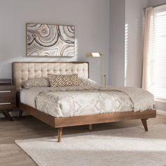 5a6569b2da9b2 Baxton Studio Soloman Mid-Century Modern Fabric and Walnut Brown Finished  Wood Platform Bed