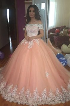 Off the Shoulder Lace Appliques Ball Gown Cheap Prom Dresses Prom Dresses Ball Gown, Prom Dress, Prom Dresses For Cheap, Prom Dresses Lace, Prom Dresses With Appliques Prom Dresses 2020 Lace Ball Gowns, Tulle Ball Gown, Ball Gowns Prom, Ball Dresses, Evening Dresses, Tulle Lace, Xv Dresses, Dress Lace, Lace Bodice