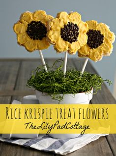 Rice krispie treat flowers - cute!