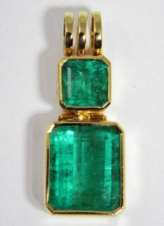 11.00cts HUGE BRIGHT GREEN COLOMBIAN EMERALD SOLITAIRE PENDANT NECKLACE 18K GOLD