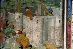 Construction d'un château, Paris- Bibl. Ste Geneviève, ms. 1015, fol. 001, XVe s