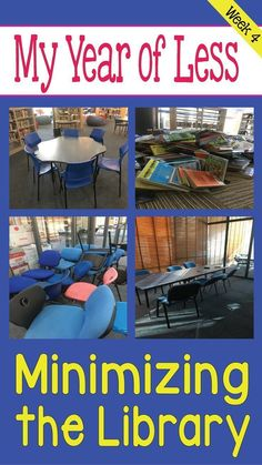 Year of Less, Week Minimizing the Library! School Library Design, Elementary School Library, Elementary Schools, School Library Lessons, School Library Displays, Middle School Libraries, Library Skills, Library Books, Library Ideas
