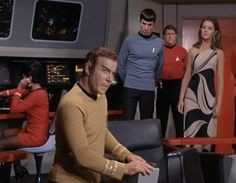 *( ͡ ͡° ͜ ͡ ͡°  )*         Star Trek (TOS) - The Enterprise Incident! Kirk posing as a Romulan...with enemy commander (Joanne Linville) on board! (One of the best pictures from the series)