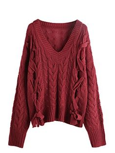 0fce4f24b MakeMeChic Women s Autumn V Neck Pullover Lace up Cable Knit Sweater Jumper