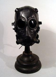☠ Black Leather Gas Mask Hood Goggles Steampunk LARP Bob Basset Goth Art  ☠