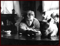 James Dean and his cat! Famous old Hollywood and their pets :)