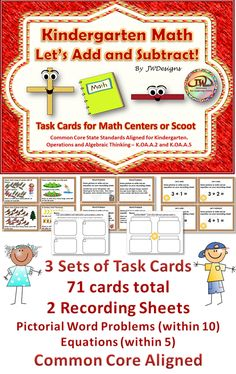 CCSS Operations and Algebraic Thinking - addition and subtraction task cards.  This activity is great for math centers or scoot. They can also be used for individual work or assessment. For Pre-K, Kindergarten and homeschoolers. It would also be a good review for first grade at the beginning of the year.