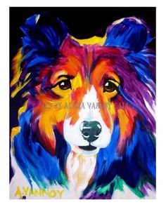 DawgArt: Colorful Pet Portrait Sheltie Dog Print 8x10 by Alicia VanNoy Call. $12.00, via Etsy.