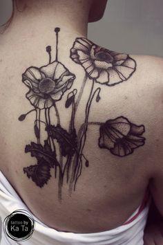 poppies - tattoo and design by Ka Ta https://www.facebook.com/tattoo.by.KaTa